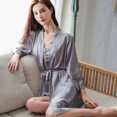 冰丝睡衣女春夏睡袍吊带胸垫性感睡裙长袖蕾丝家居服两件四件套装
