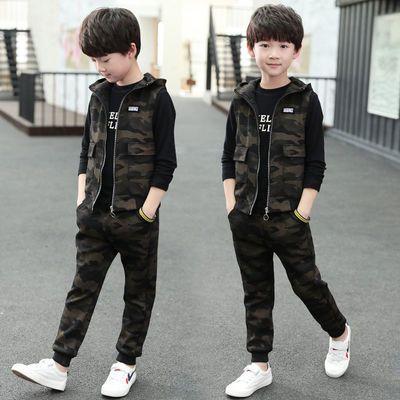 【三件套】男童春秋迷彩三件套儿童韩版迷彩套装中小童洋气三件套