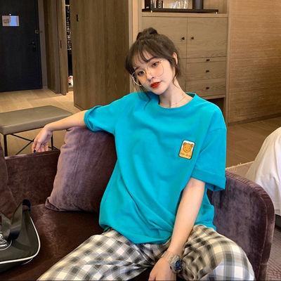 100纯棉 短袖T恤女2020新款夏季学生韩版宽松中长款小熊BF上衣ins