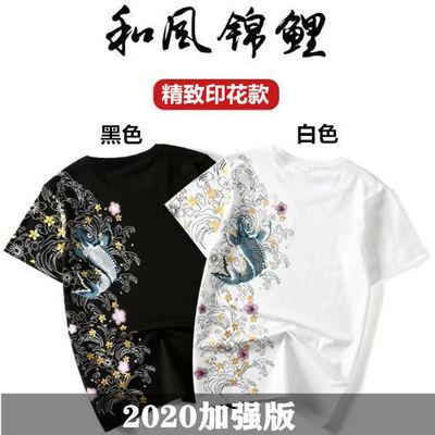 2020新款t恤男士短袖男潮流韩版宽松港风个性印花情侣装体恤男夏