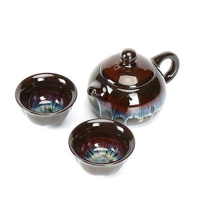正品沙金茶具家用钧瓷窑变建盏茶具套装茶壶茶杯整套功夫茶具旅行