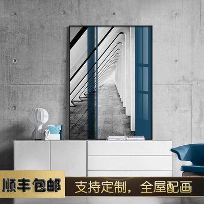 现代简约玄关装饰画工业风客厅背景墙挂画建筑样板房走廊过道壁画