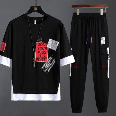 童装短袖套装纯棉10男大童14初中学生15高中男装休闲运动两件套