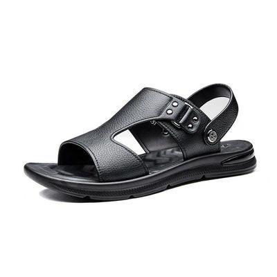 花花公子凉鞋2020夏季休闲男士拖鞋两用室外中年人软底真皮爸爸鞋
