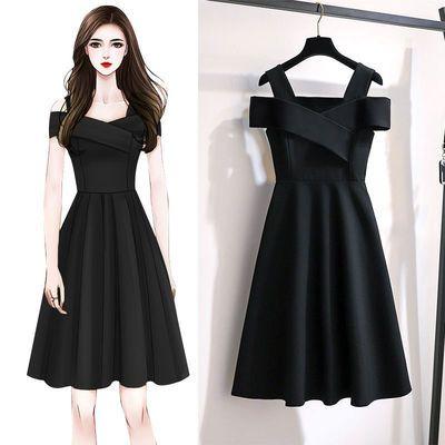 夏季一字肩连衣裙女2020新款大码女装小个子遮肉显瘦礼服小黑裙女