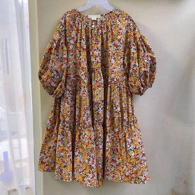 韩国东大门2020夏季新款女装宽松洋气碎花淑女范褶皱灯笼袖连衣裙