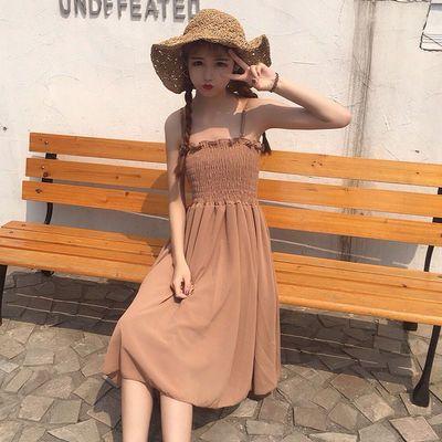 女装夏中长款木耳边压褶吊带连衣裙无袖抹胸连衣裙打底长裙显瘦