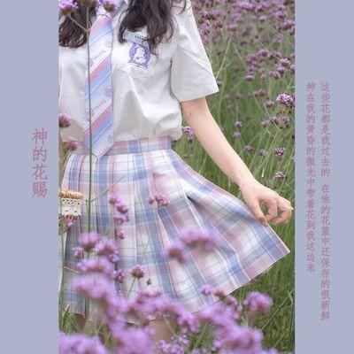 【神的花赐】现货原创正版设计制服百褶裙粉格甜系软妹显瘦裙