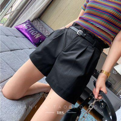 裤子女宽松直筒2020夏装新款女装韩版百搭高腰西装短裤女休闲裤潮
