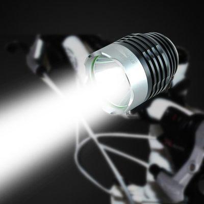 自行车灯前灯3挡光远射山地车夜骑行灯手电筒单车配件骑行装备