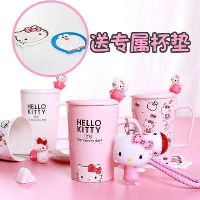 卡通哆啦A梦马克杯网红INS女学生水杯子凯蒂猫陶瓷杯情侣杯带盖勺
