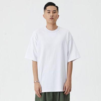 wassup2020ss夏季新款小领口重磅T恤衫宽松休闲简约半短袖百搭男