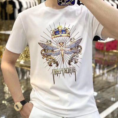 新款夏季男士短袖t恤潮牌圆领T修身镭射反光半袖体恤大码打底男装