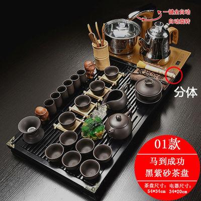 正品全自动功夫茶具套装整套乌金石实木茶盘茶台陶瓷家用四合一电