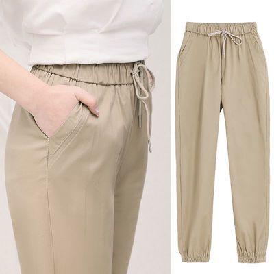 卡其色裤子女夏薄款宽松束脚工装裤女夏季九分小个子束腿休闲女裤