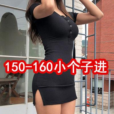 开叉连衣裙短袖包臀裙性感女装夜店紧身裙2020夏新款系扣显瘦短裙