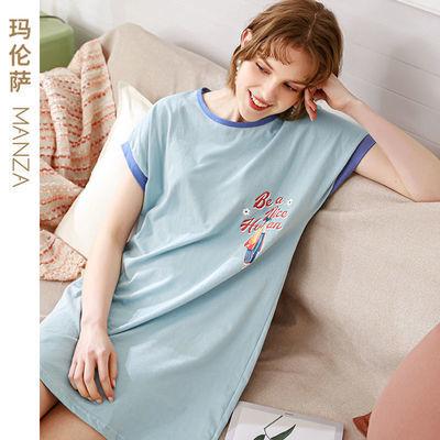 芬腾玛伦萨 睡衣女夏季新款甜美洋气休闲家居服短袖纯棉睡裙女