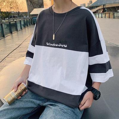 纯棉夏季拼接短袖t恤男学生韩版宽松潮流青少年上衣服五分袖男装
