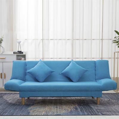 简约布艺沙发床可折叠小户型两用多功能出租房单双三人懒实木沙发