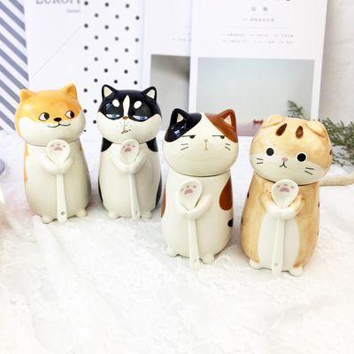 猫爪杯猫咪动物杯子创意陶瓷马克杯生日礼物带杯盖勺子包邮