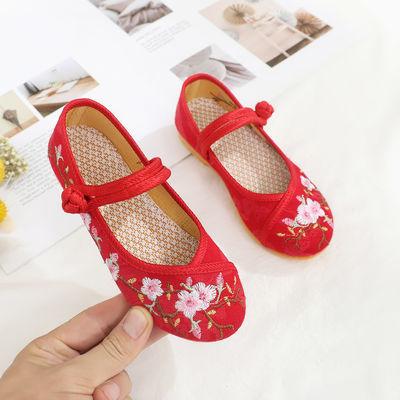 2020新款儿童鞋子古装风女童汉服鞋子老北京女童布鞋绣花鞋民族风