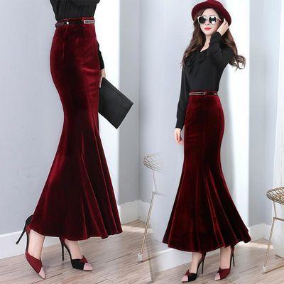 金丝绒包臀半身裙秋冬高腰弹力酒红色鱼尾裙长裙名媛拖地一步裙潮