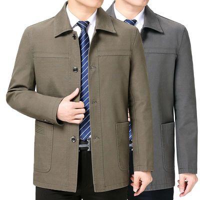 纯棉夹克衫男中老年大码上衣爸爸春秋外套中长款休闲褂子扣子衣服
