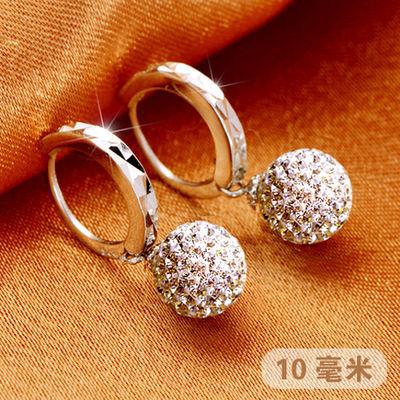 【热卖】925纯银耳扣 玛瑙珍珠耳环奥地利水晶耳饰奥钻闪钻女款长