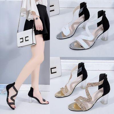 凉鞋女2020夏季新款欧美时尚亮片性感水晶跟粗跟女鞋后拉链高跟鞋