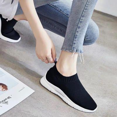 夏季2020新款时尚百搭袜子女休闲鞋一脚蹬懒人舒适透气飞织运动鞋