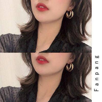 韩国ins风网红耳环女大圆环冷淡风耳钉欧美圆圈金属无耳洞耳夹