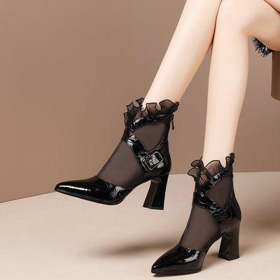 高跟凉鞋女粗跟2020春夏新款网纱凉靴镂空后拉链包头凉鞋百搭单靴