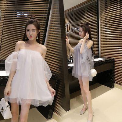 【仙女裙子】主播上镜服装夏天夜店性感露肩网纱飘逸连衣裙蓬蓬裙