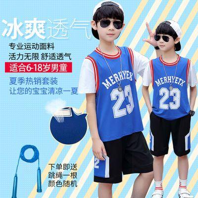男童短袖短裤两件套夏季篮球服运动套装透气宽松速干短袖短裤套装