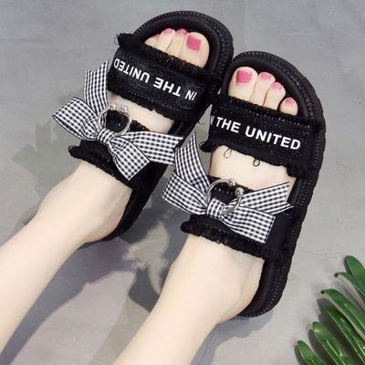 拖鞋女夏季韩版时尚防滑平底孕妇拖鞋蝴蝶结凉拖露趾学生外穿凉鞋