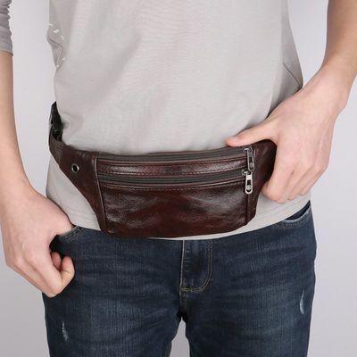 真皮腰包男斜挎多功能防水手机包男士收银腰包大容量韩版真牛皮包