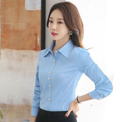 白色衬衫女长袖职业韩版修身显瘦工装宝蓝色百搭2019春装新款衬衣