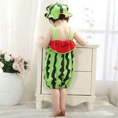宝宝连体衣造型衣夏季婴儿哈衣3-6-12月新生儿爬服拍照服纯棉西瓜