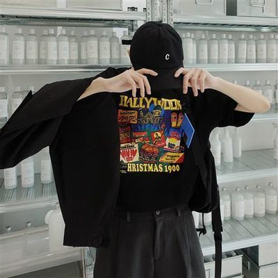 BANGBOY 情侣装夏装黑色短袖t恤男宽松新款2020新款潮牌潮流百搭
