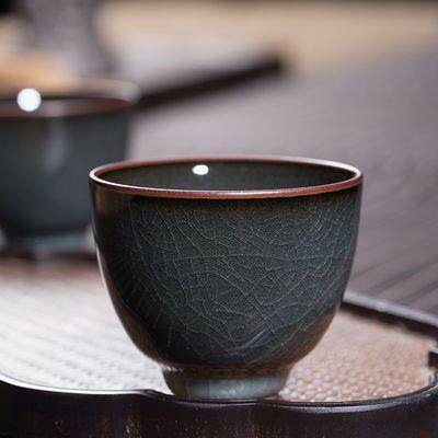 龙泉手工哥窑铁胎主人杯青瓷铁骨单杯陶瓷冰裂品茗杯功夫茶具茶杯