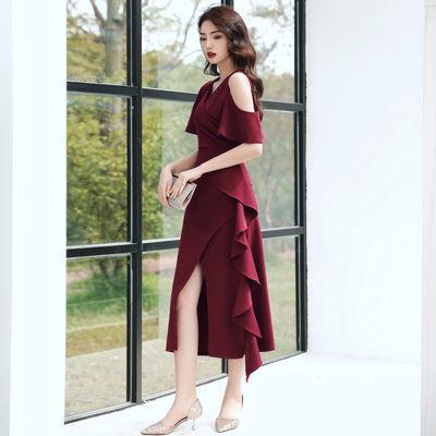 晚礼服裙女高级质感宴会连衣裙高端大气酒红色气质平时可穿敬酒服
