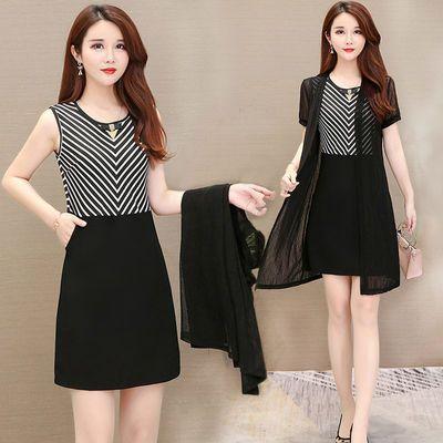 条纹连衣裙 中长款外套2020夏新款韩版中年气质女性显瘦收腰A字裙