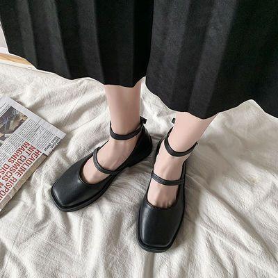 日系小皮鞋女英伦jk夏季薄款平底圆头浅口一字扣法式小跟单鞋复古