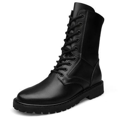 夏季马丁靴高帮男鞋真皮内增高军靴防水保暖男士拉链靴子舞台表演