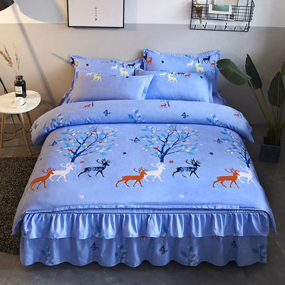 加厚磨毛床裙四件套床罩被套被罩像纯棉全棉韩版婚庆双人床上用品