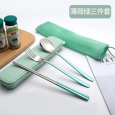 304不锈钢餐具套装宿舍学生不锈钢筷子勺子旅行便携二件套三件套