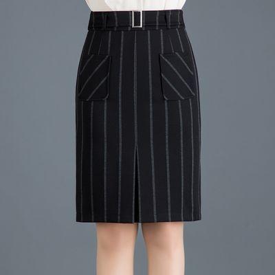 【质量保证】半身裙中长款春夏a字裙修身显瘦高腰包臀一步裙条纹