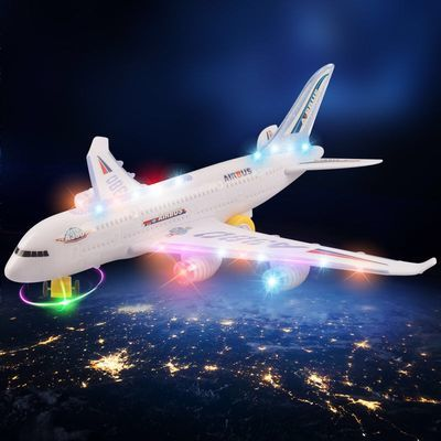 超大号儿童玩具A380电动万向双层客机带灯光音效玩具模型男孩玩具