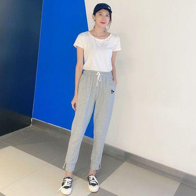 米奇纯棉运动裤女宽松束脚夏季薄款九分显瘦小雏菊哈伦灰色休闲裤