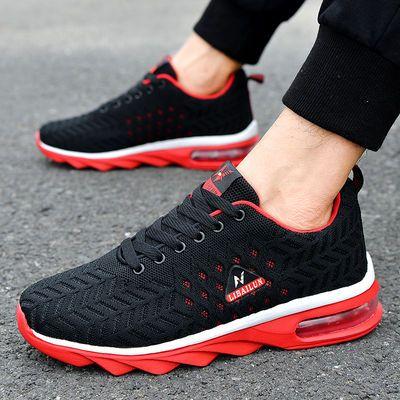 正品新款飞织气垫学生鞋男士透气休闲鞋防臭防滑男性大码运动鞋